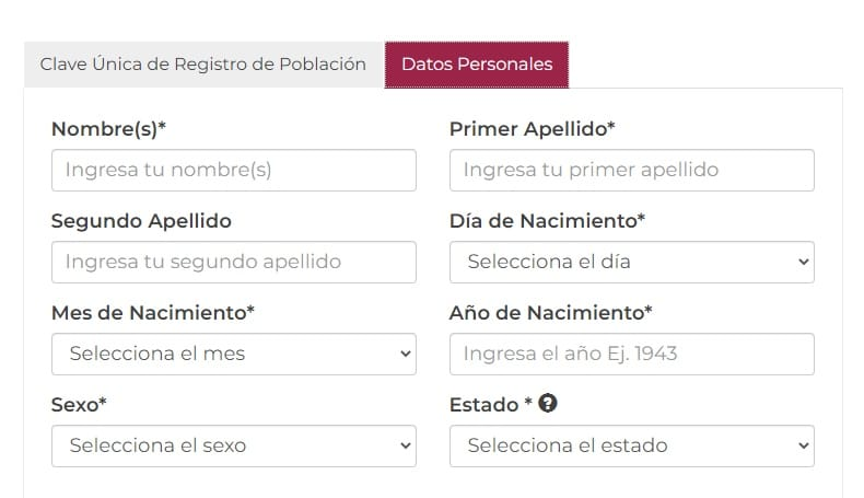 formulario acta de nacimiento